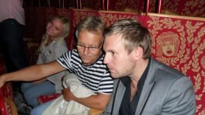 Från vänster: Ellen, som spelade Pippi på Nöjesteatern i vintras, Julius, producent och Cornelius, min man som har premiär den 27 okt i Nöjesteaterns bakficka Estrad på föreställningen Göran Marängs Nederjag.